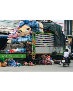 Postkarte Umzug LKW Chaos