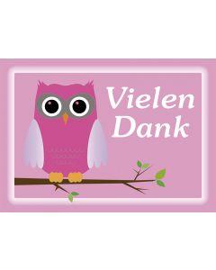 """Postkarte Eule pink """"VIELEN DANK"""""""