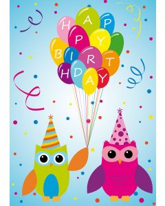 "Postkarte zwei Eulen ""Happy Birthday"" mit Luftballons"
