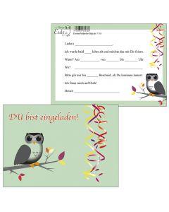 Einladungskarte Eule mintgrün