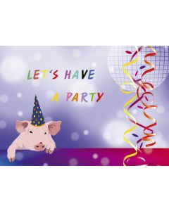 "Postkarte Party-Schweinchen ""Let's have a party!"""