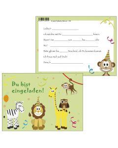 Einladungskarte bunte Tiere