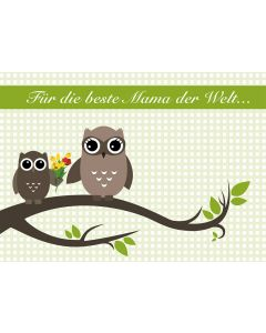 Postkarte Vatertag - drei grüne Eulen