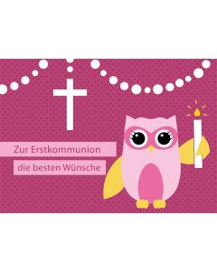 Postkarte Eule Erstkommunion mit Kerze