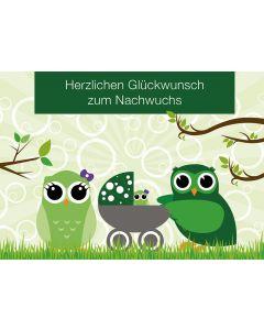 Postkarte Eulen mit Kinderwagen - Geburt