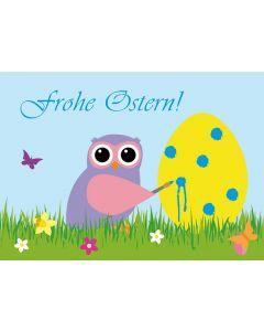 Postkarten Ostern - Eule bemalt Osterei