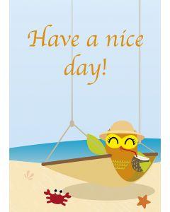 "Postkarte Eule in Hängematte ""Have a nice day!"""