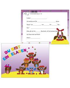 Einladungskarten Zirkus-Eulen
