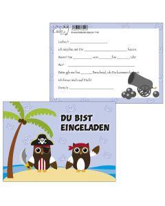 Einladungskarten Piraten-Eulen
