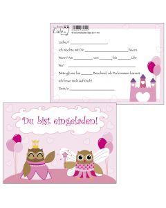 Einladungskarten Prinzessin Eulen