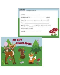 Einladungskarten lustige Waldtiere