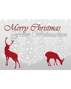 Postkarte Weihnachten - rotWild