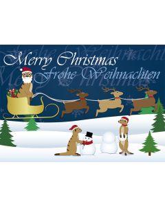 Postkarte Weihnachten - Erdmännchen im Rentierschlitten