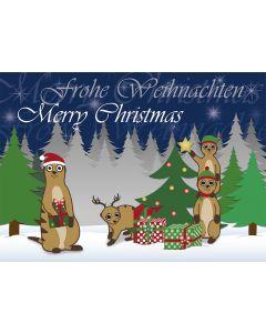 Postkarte Weihnachten - Erdmännchen am Weihnachtsbaum