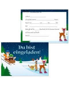 Einladungskarte Tiere beim Wintersport