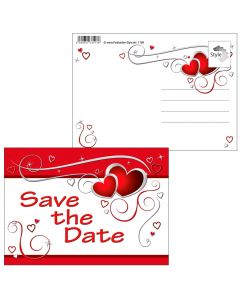 "Postkarten rote Herzen ""Save the date"""