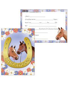 Einladungskarte zwei Pferde im Hufeisen