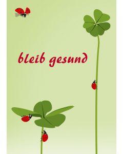Postkarte bleib gesund mit Klee mit Marienkäfern