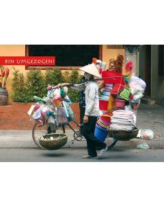 "Postkarte Umzug witzig Asien ""Bin umgezogen"""