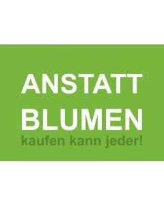 Postkarte ANSTATT BLUMEN grün/weiß