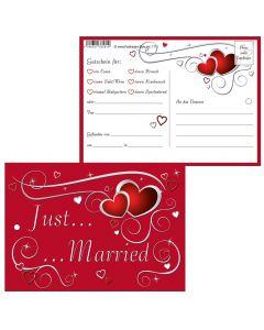 """Luftballonkarten rote Herzen """"just married"""""""