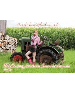 """Postkarte """"Herzlichen Glückwunsch- bleibe jung..."""" Traktor"""