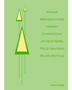 Postkarte PopArt grüne Tanne - Frohe Weihnachten
