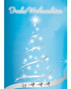 Postkarte silver-star Weihnachtsbaum - Frohe Weihnachten
