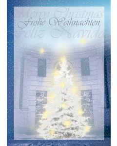 Postkarte strahlender Weihnachtsbaum - Frohe Weihnachten