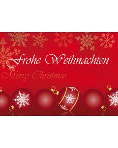 Postkarte rote Christbaumkugeln - Frohe Weihnachten