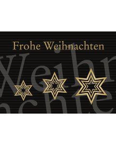 Postkarte goldene Sterne - Frohe Weihnachten
