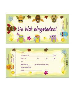 Einladungskarten Eulen Vierjahreszeiten