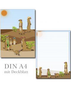 Schreibblock witzige Erdmännchen DIN A4