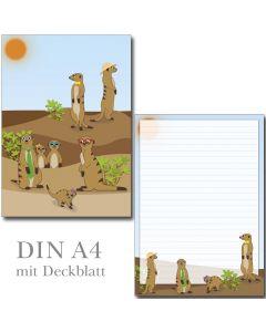 SONDERPOSTEN - witzige Erdmännchen 1 Schreibblock DIN A4 ca. 19 Blatt mit Deckblatt