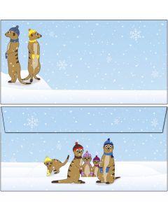 Briefumschläge witzige Erdmännchen im Winter