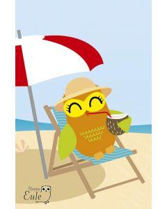 Aufkleber Happy Eule - Eule am Strand