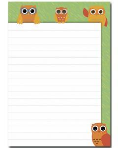 Schreibblock Eulen orange DIN A5
