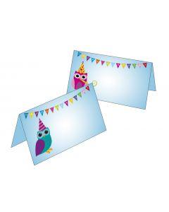 Tischkarten Motiv Eulen Happy Birthday