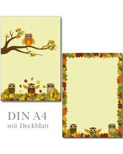 Schreibblock Eulen im bunten Herbstlaub DIN A4