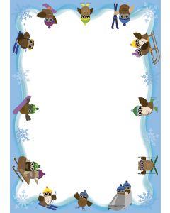Briefpapier Eulen beim Wintersport