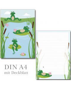 Schreibblock lustige Frösche DIN A4
