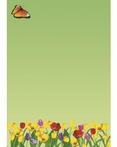 Briefpapier bunte Tulpenwiese