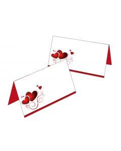 Tischkarten rot / weiß