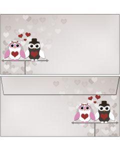 Briefumschläge süßes Eulen-Brautpaar