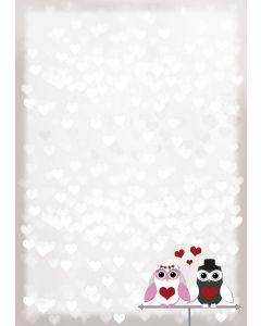 Briefpapier süßes Eulen-Brautpaar