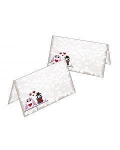 Tischkarten süßes Eulen Hochzeitspaar
