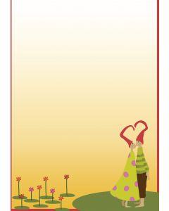 Briefpapier In Love - verliebtes Paar mit Herz-Zipfelmützen