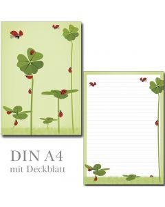 Schreibblock Klee und Marienkäfer DIN A4