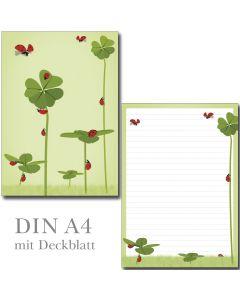SONDERPOSTEN - Klee und Marienkäfer 1 Schreibblock DIN A4  ca. 22 Blatt mit Deckblatt