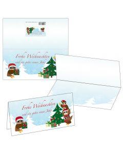 Klappkarten Eulen am Weihnachtsbaum mit Motiv-Briefumschlag